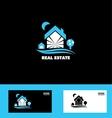 Real estate blue house logo icon vector image