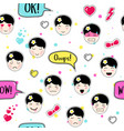 anime style seamless pattern with cute emoji girls vector image