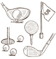 Golf collection - doodle style vector image