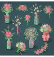 set of pink bouquets vector image