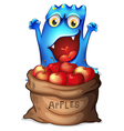 A monster and a sack of apples vector image vector image