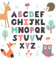 alphabet poster with cute forest animals wall art vector image vector image