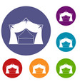awning tent icons set vector image vector image