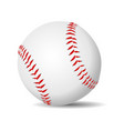baseball ball realistic in white leather with red vector image