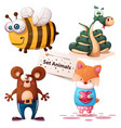 bee snake bear fox - set animals vector image