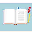 Book Open with Pencil and Marker Pen Flat Design vector image