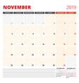 Calendar planner template for november 2019 week