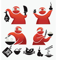 cartoon sushi chief and food vector image vector image