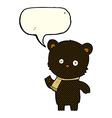 cartoon waving black bear with speech bubble vector image vector image