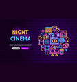 cinema neon banner design vector image