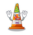 clown on traffic cone against mascot argaet vector image vector image