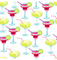 cocktails with lime slices alcoholic beverages vector image vector image