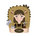 coffee seller girl on brown background vector image