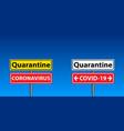 coronavirus - caution road sign stop virus vector image