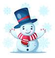cute funny pretty snow man vector image vector image