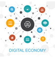 digital economy trendy web concept with icons vector image