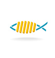 Fish and chips logo Fast food symbol with linear vector image vector image