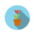 Flat Design Concept Flower in Pot With Long vector image