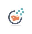 folder technology logo vector image vector image
