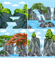 four scenes of waterfall at daytime vector image