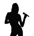 girl singing silhouette vector image vector image