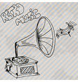 gramophone retro hand drawn design card vector image