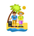 grandparents on rest near seaside happy middle vector image vector image