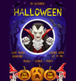 happy halloween trick or treat dracula party vector image vector image