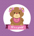label girl teddy bear and ribbon with its