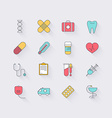 Line icons set in flat design Elements of medicine vector image vector image