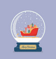 merry christmas glass ball with santa sleigh vector image vector image