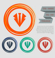 necktie icon on red blue green orange buttons vector image vector image