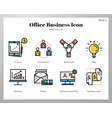 office business icons linecolor pack vector image vector image