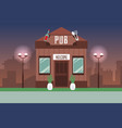 old style pub on night modern cityscape background vector image vector image