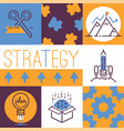 outline strategy icons banner vetor vector image vector image