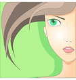 Portrait of the girl with green eyes vector image vector image