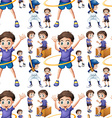 Seamless boy doing different activities vector image vector image