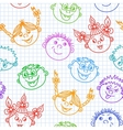 seamless doodle smiling kids faces pattern vector image vector image