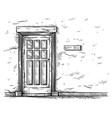sketch hand drawn old rectangular wooden door vector image vector image