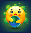 smiley icon caring earth emotion sign and vector image vector image
