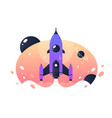 space rocket takeoff from earth into space and vector image