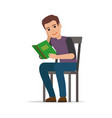 student seating and reading textbook flat vector image vector image