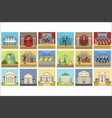 theatre buildings and stage perfomances set vector image vector image