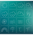 weather icons chalky dark blue green vector image vector image