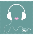 White headphones with cord Pink lips Love Music vector image vector image
