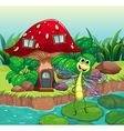 A giant mushroom house with a dragonfly vector image vector image