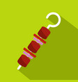 barbecue kebab on skewer icon flat style vector image vector image