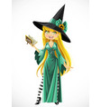 beautiful young witch with a book stand on white vector image vector image