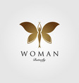 beauty flying woman vintage butterfly logo design vector image vector image