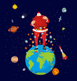 big santa claus on earth christmas on planet big vector image